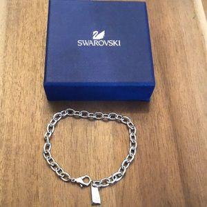 "NWOT Swarovski Silver Charm Bracelet Adjust 7-8"""